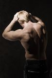 Male bodybuilder. Rear view of male bodybuilder with bare torso posing Royalty Free Stock Images
