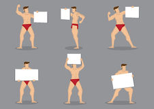 Male Bodybuilder with Blank Placard Cartoon Vector Character Ill. Set of six vector cartoon illustration of male body builder character in hot red briefs holding Royalty Free Stock Photo