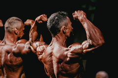 Male bodybuilder demonstrates biceps and back muscles Royalty Free Stock Image