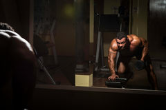 Male bodybuilder doing heavy weight exercise for back royalty free stock photography