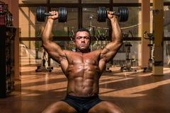 Male bodybuilder doing shoulder press whit dumbbell stock photos