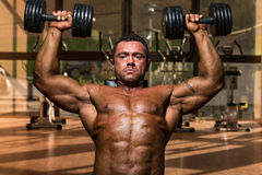 Male bodybuilder doing shoulder press whit dumbbell. Male body builder doing shoulder press whit dumbbell Royalty Free Stock Photography
