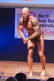 Male bodybuilder flexes his muscles and shows his best physique Royalty Free Stock Photos