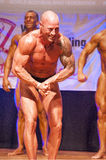 Male bodybuilder flexes his muscles and shows his best physique Royalty Free Stock Images