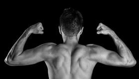 Male bodybuilder flexing his biceps, back view. Isolated on black background Stock Images