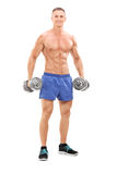 Male bodybuilder holding two barbells Royalty Free Stock Image