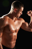 Male bodybuilder looking at his flexing muscles, close-up Royalty Free Stock Photography