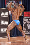 Male bodybuilder Michael Muzo shows his back double biceps Stock Image
