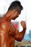 The male bodybuilder prepare Stock Photos