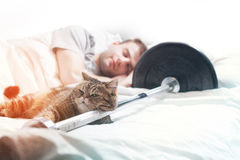 A male bodybuilder is sleep after training with a cat and a barb. A male bodybuilder is asleep after training with a cat and a barbell on a white Royalty Free Stock Images