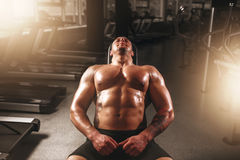 Male bodybuilder training with dumbbells in gym Royalty Free Stock Photography