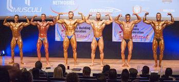 Male bodybuilders flex their muscles and show their best physiqu. MAASTRICHT, THE NETHERLANDS - OCTOBER 25, 2015: Male bodybuilders Ali Rezah from Iran with Royalty Free Stock Image
