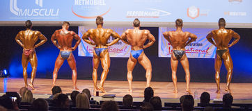 Male bodybuilders flex their muscles and show their physique Royalty Free Stock Photography