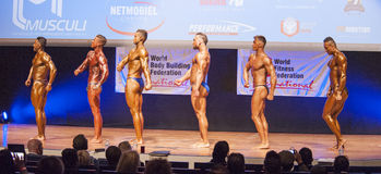 Male bodybuilders flex their muscles and show their physique Royalty Free Stock Images