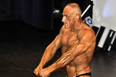 Male bodybuilding contestant showing his chest pose. ROOSENDAAL, THE NETHERLANDS - OCTOBER 19, 2014. Male bodybuilders showing their best at the bodybuilding and Royalty Free Stock Photography