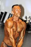Male bodybuilding contestant showing his triceps. ROOSENDAAL, THE NETHERLANDS - OCTOBER 19, 2014. Male bodybuilders showing their best at the bodybuilding and Stock Image