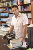Male bookshop proprietor Stock Image