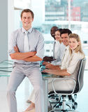Male boss with his team Royalty Free Stock Photos