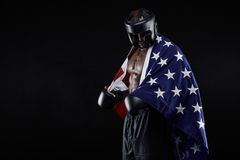 Male boxer with American flag Stock Image