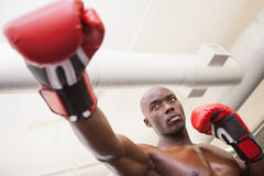 Male boxer attacking with his right in health club Royalty Free Stock Images