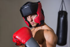 Male boxer in defensive stance Stock Photo
