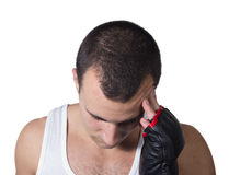 Male boxer with headache Royalty Free Stock Images