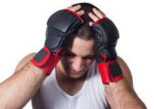 Male boxer with headache Royalty Free Stock Image