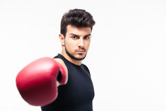 Male boxer hitting at camera Stock Photos
