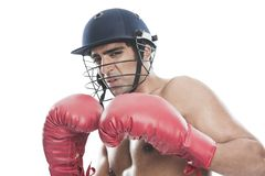 Male boxer practicing boxing Stock Photos