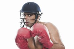 Male boxer practicing boxing Royalty Free Stock Photo