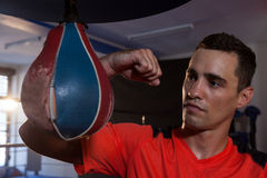 Free Male Boxer Practicing Boxing With Punching Bag Stock Images - 95865044