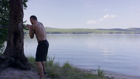 Male boxer practicing on nature near tree. Boxer practicing on the lake. Boxer doing shadow Boxing in the nature near stock video footage