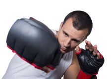 Male boxer punching Royalty Free Stock Photo