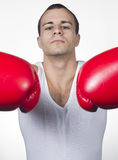 Male boxer ready for match Royalty Free Stock Images