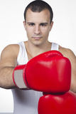 Male boxer ready for match Stock Photo