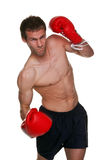 Male boxer uppercut punch. Male boxer delivering an uppercut punch, isolated on white background. This shot has a small amount of motion blur stock photo