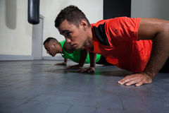 Male boxers exercising in the fitness studio. Young male boxers exercising in the fitness studio Royalty Free Stock Photo