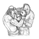 Male Boxers Throwing Punches. Illustration of a Sketch Of Two Male Boxers Throwing Punches Royalty Free Stock Images