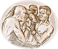 Male boxers throwing punches Stock Images