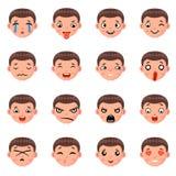 Male Boy Avatar Smile Emoticon Icons Set Isolated Cartoon Design Vector Illustration Stock Image