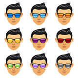 Male boy head with sunglasses Royalty Free Stock Image