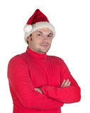 Male boy with  red clothes in Christmas Royalty Free Stock Images