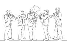Male brass quintet. One continuous single drawn line art doodle male brass quintet. The concept of a musical ensemble, concert, performance vector illustration