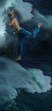 The male break dancer in water. Stock Photo