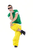 Male breakdancer. Posing, isolated on a white background royalty free stock photo