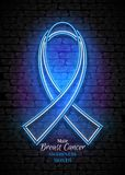 Male Breast Cancer Awareness Month Emblem, Blue Ribbon Symbol. Neon Lamp Glow Stylization on Black Brick Wall. Template for Banner, Poster, Invitation Royalty Free Stock Photography