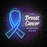 Male Breast Cancer Awareness Month Emblem, Blue Ribbon Symbol. Neon Lamp Glow Stylization on Black Brick Wall. Template for Banner, Poster, Invitation, Flyer Stock Image