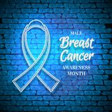 Male Breast Cancer Awareness Month Emblem, White Ribbon Symbol. Neon Lamp Glow Stylization on Blue Brick Wall. Template for Banner, Poster, Invitation, Flyer Stock Photo