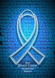 Male Breast Cancer Awareness Month Emblem, White Ribbon Symbol. Neon Lamp Glow Stylization on Blue Brick Wall. Template for Banner, Poster, Invitation Stock Photo