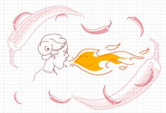 Male Breathing Fire, Hot Chili Pepper Concept Sketch. Vector Illustration Royalty Free Stock Photos